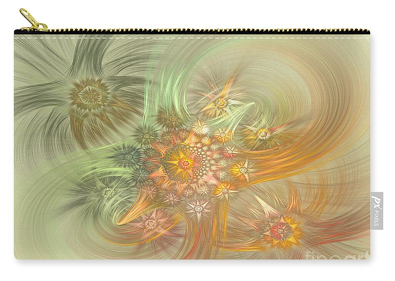 Fractal Carry-all Pouch featuring the digital art Pastel Delicate Pattern by Deborah Benoit