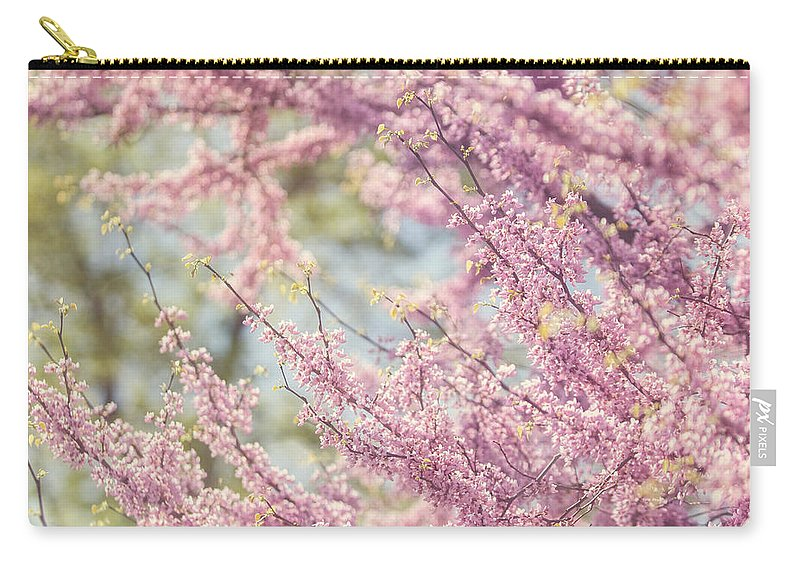 Pink Carry-all Pouch featuring the photograph Pastel Pink Flowers Of Redbud Tree In Springtime by Lisa Russo