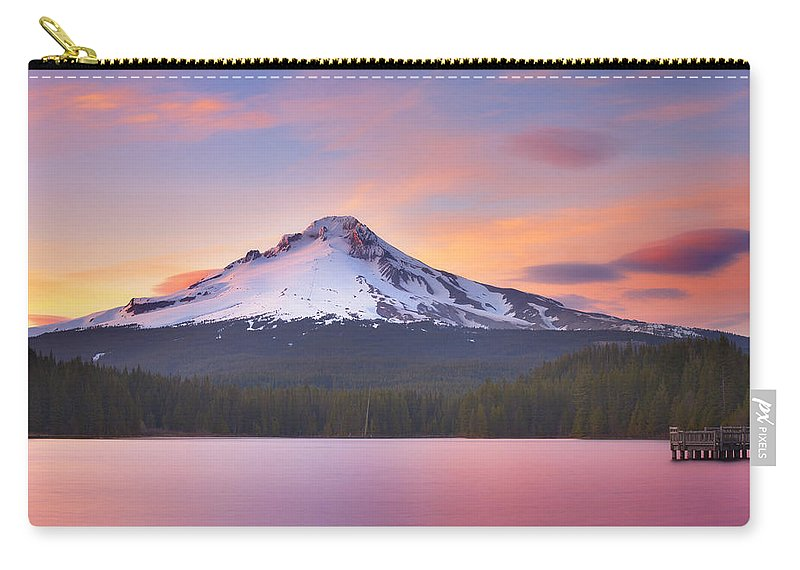 Trillium Lake Carry-all Pouch featuring the photograph Pastel Sunset by Darren White