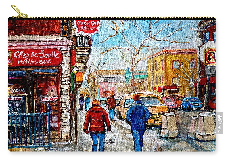 Montreal Carry-all Pouch featuring the painting Pastry Shop And Tea Room by Carole Spandau