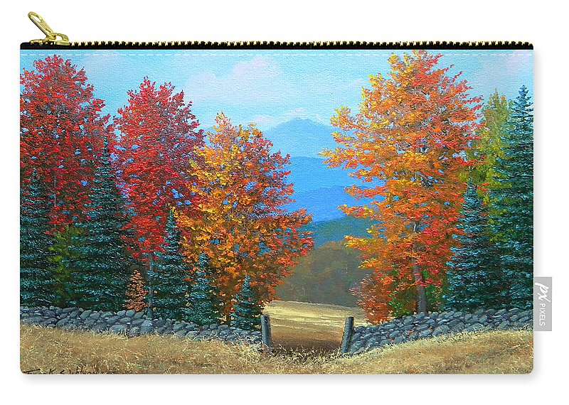 Autumn Carry-all Pouch featuring the painting Pasture Gate In Autumn by Frank Wilson