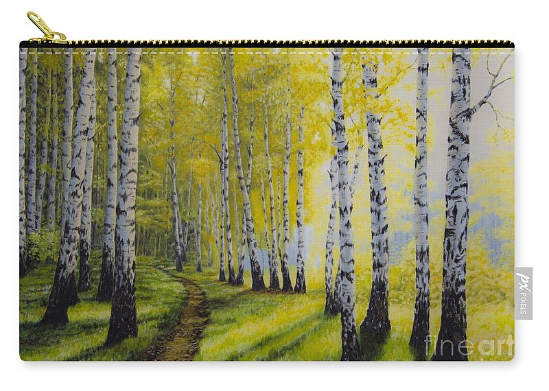 Art Carry-all Pouch featuring the painting Path To Autumn by Veikko Suikkanen