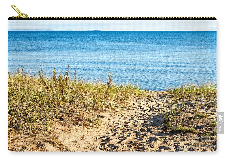Path Carry-all Pouch featuring the photograph Path To The Lake Superior Beach by Les Palenik