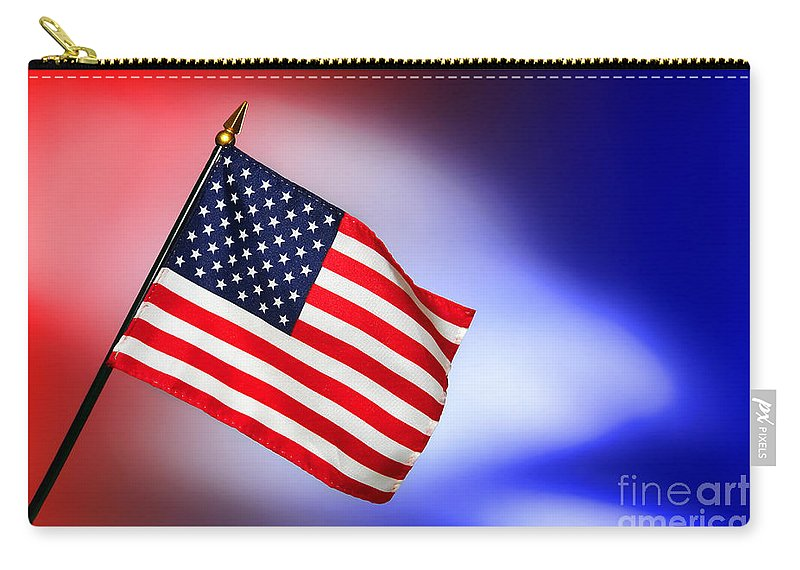 Flag Carry-all Pouch featuring the photograph Patriotic American Flag by Olivier Le Queinec
