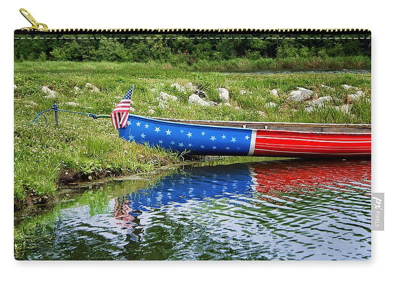 Canoe Carry-all Pouch featuring the photograph Patriotic Canoe #1 by Nikolyn McDonald