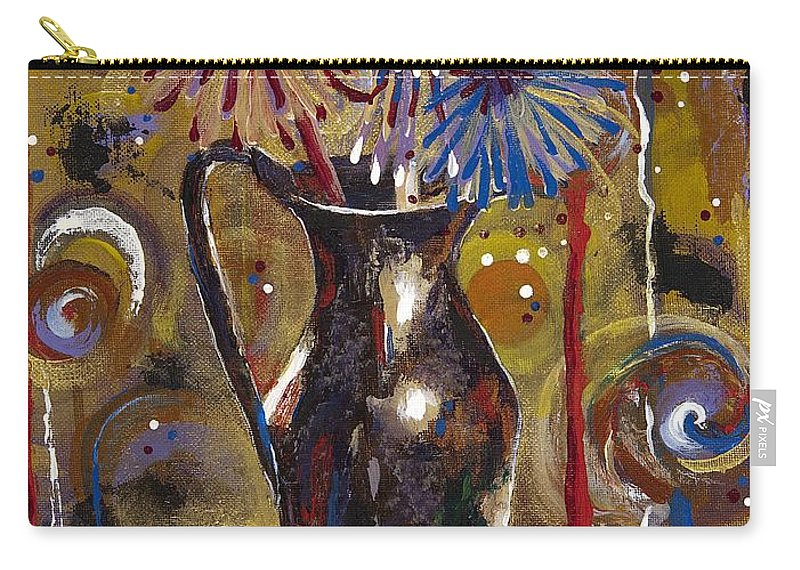 Contemporary Carry-all Pouch featuring the painting Patriotism Blooms by Margaret Bobb