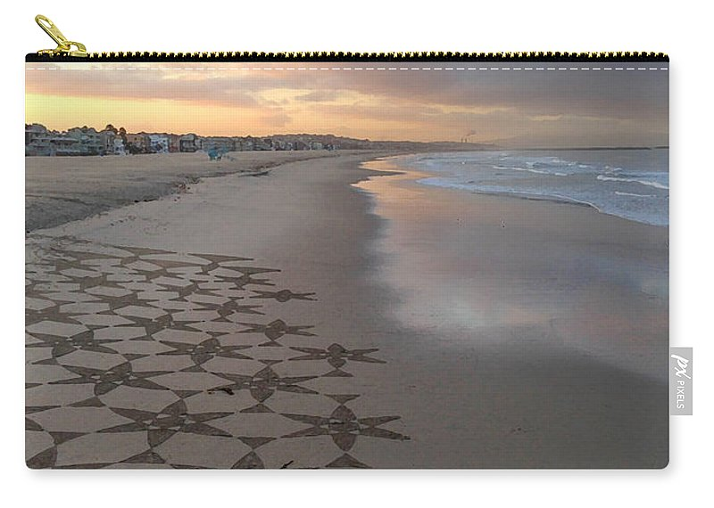 Venice Beach Carry-all Pouch featuring the photograph Patterns On Venice Beach by Art Block Collections