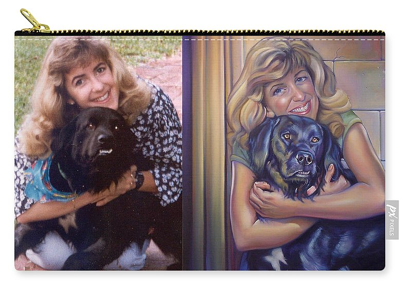 Carry-all Pouch featuring the painting Paula Commissioned Portrait Side By Side by Patrick Anthony Pierson
