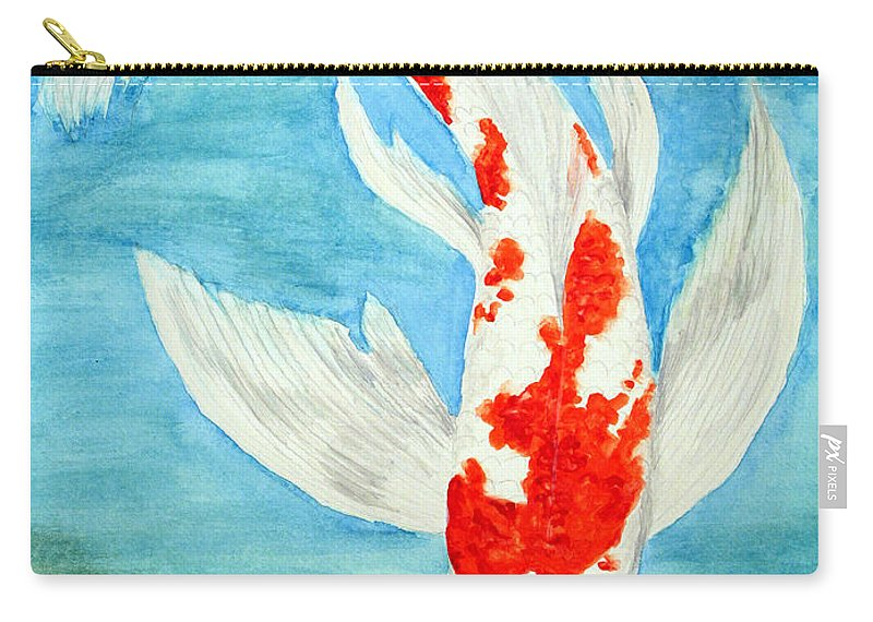 Koi Carry-all Pouch featuring the painting Paul's Koi by Marna Edwards Flavell