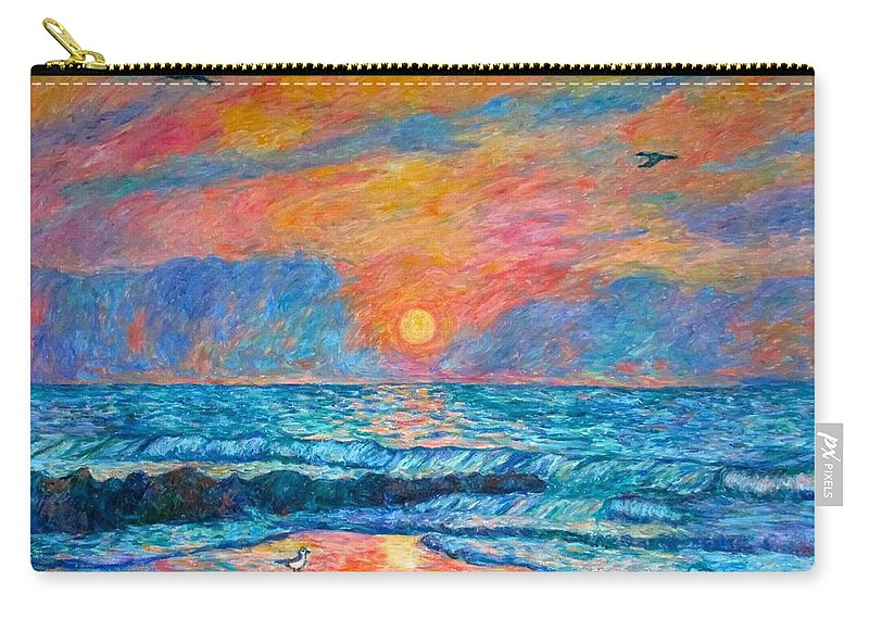 Pawleys Island Carry-all Pouch featuring the painting Pawleys Island Cormorant Sunrise by Kendall Kessler
