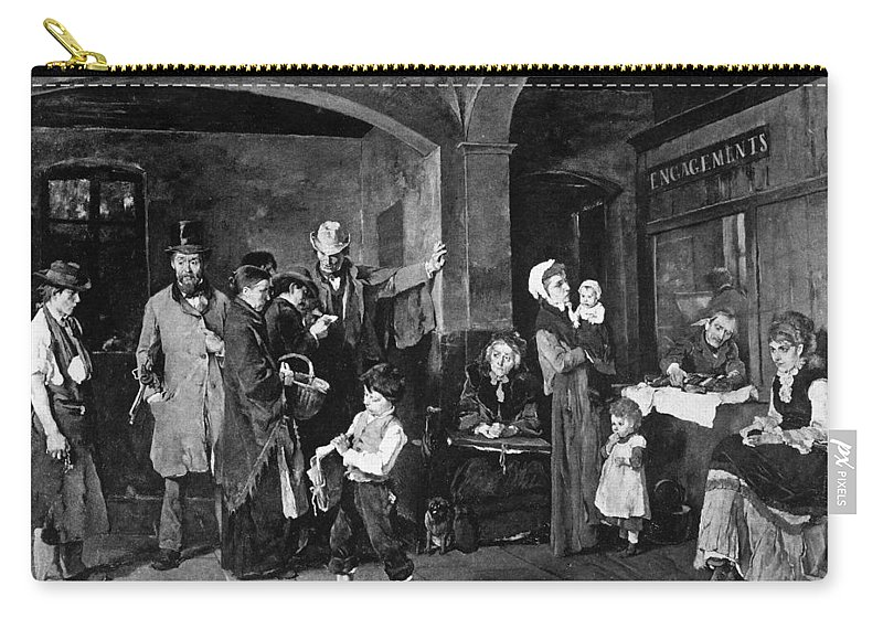 1874 Carry-all Pouch featuring the painting Pawn Shop, 1874 by Granger