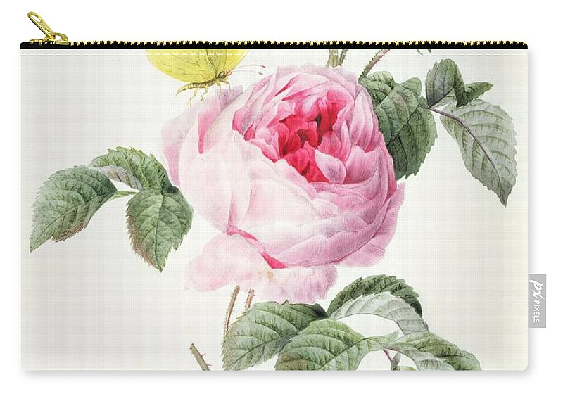 Pink Carry-all Pouch featuring the painting Pink Rose With Buds by Louise D'Orleans
