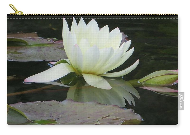 White Water Lily Carry-all Pouch featuring the photograph Peace And Enlightment by Sonali Gangane