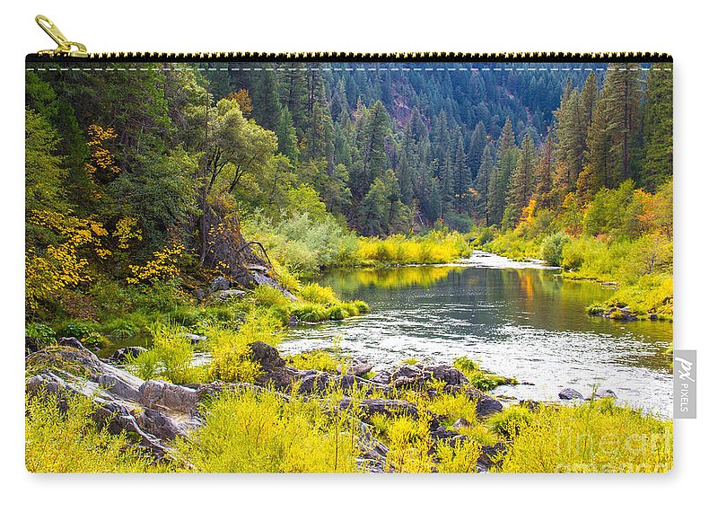 Feather River Carry-all Pouch featuring the photograph Peace And Tranquility In The Heart Of Feather River, Quincy California by Tirza Roring