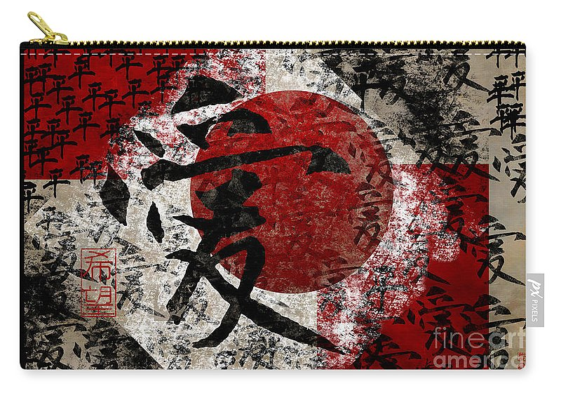 Peace Carry-all Pouch featuring the digital art Peace Love And Hope #2 by Nola Lee Kelsey
