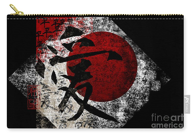Peace Carry-all Pouch featuring the digital art Peace Love And Hope #3 by Nola Lee Kelsey