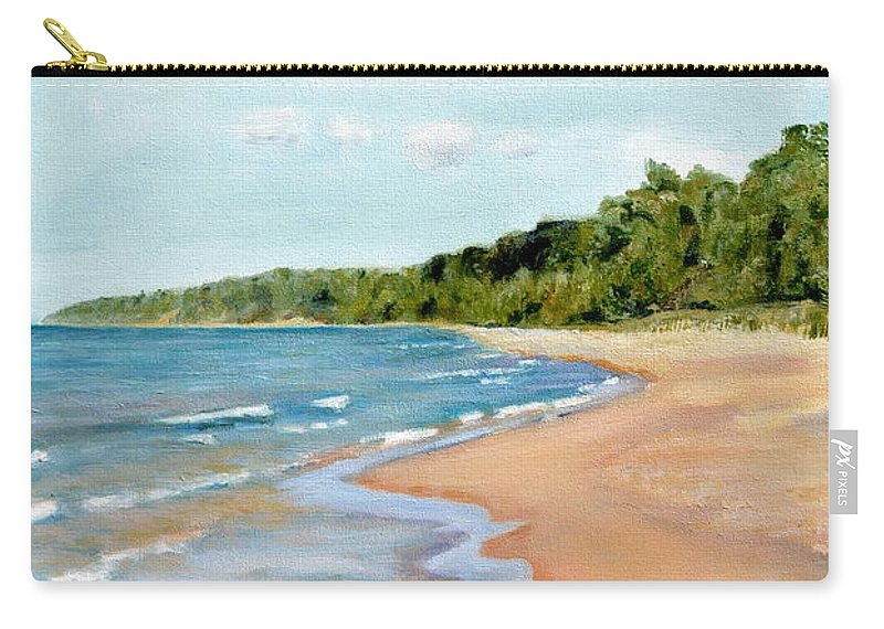 Beach Carry-all Pouch featuring the painting Peaceful Beach At Pier Cove by Michelle Calkins
