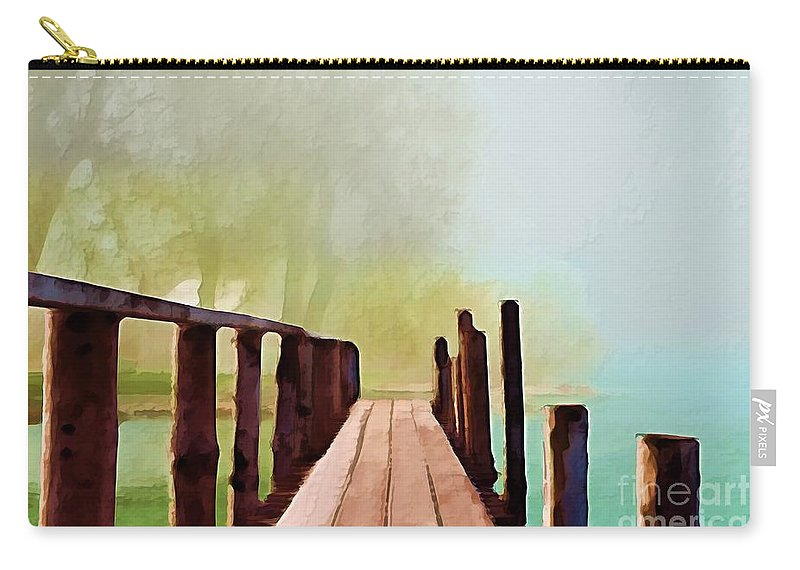 Impressionism Carry-all Pouch featuring the digital art Peaceful Foggy Day by Liane Wright