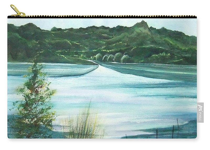 Lake Carry-all Pouch featuring the painting Peaceful Lake by Debbie Lewis
