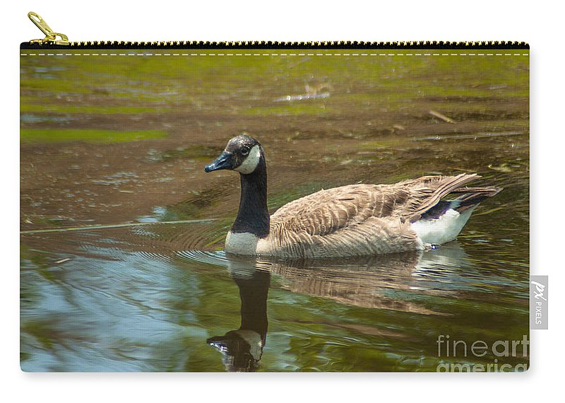 Goose Carry-all Pouch featuring the photograph Peaceful Reflections by Dale Powell