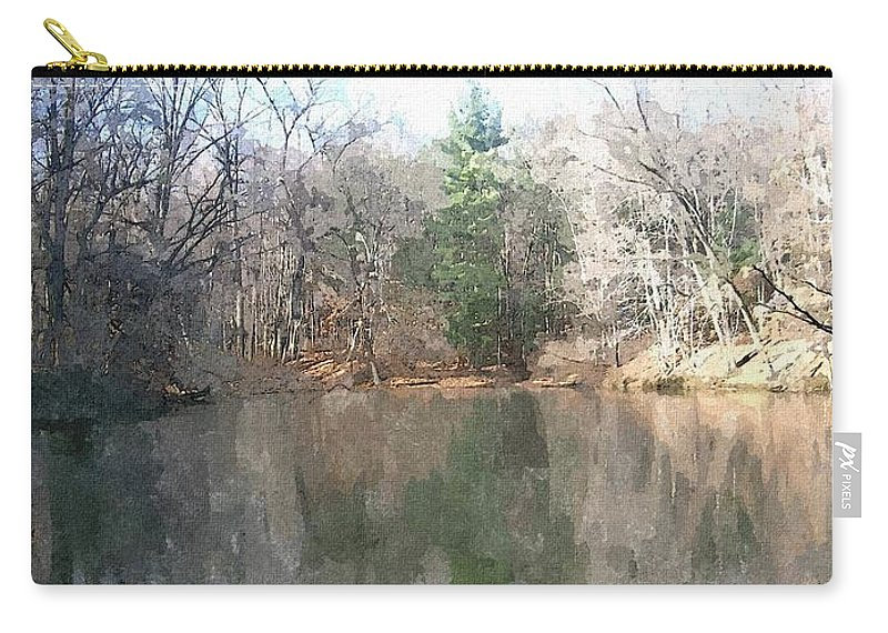 Pond Carry-all Pouch featuring the painting Peaceful Retreat 2 by Sara Raber