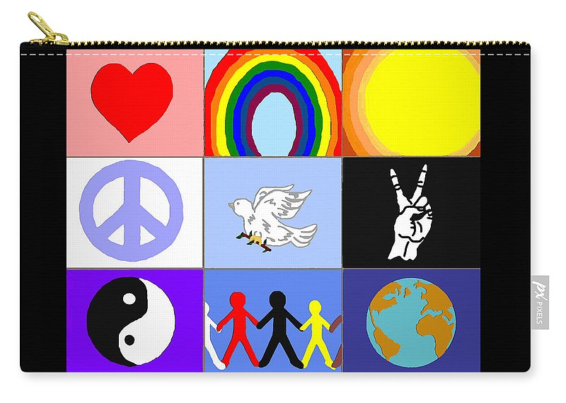 Peaceloveunity Mosaic Carry-all Pouch featuring the painting peaceloveunity Mosaic by Pharris Art