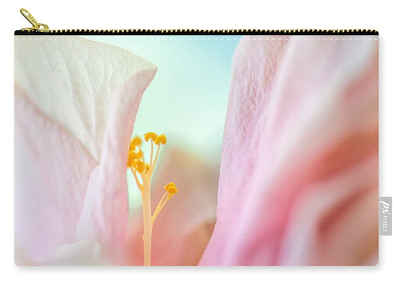 Hibiscus Carry-all Pouch featuring the photograph Peach Hibiscus. Macro by Jenny Rainbow