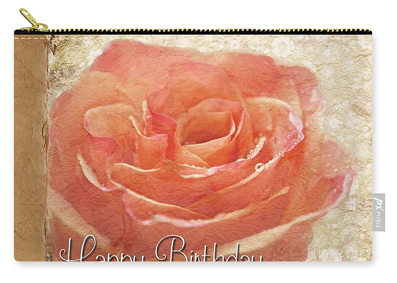 Dew Carry-all Pouch featuring the photograph Peach Rose Birthday Card by Debbie Portwood