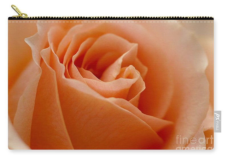 Peach Carry-all Pouch featuring the photograph Peach Rose by Carol Lynch