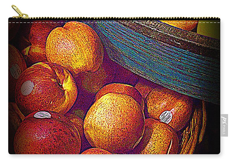 Fruit Carry-all Pouch featuring the photograph Peaches And Citrus With Blue Wooden Basket by Miriam Danar