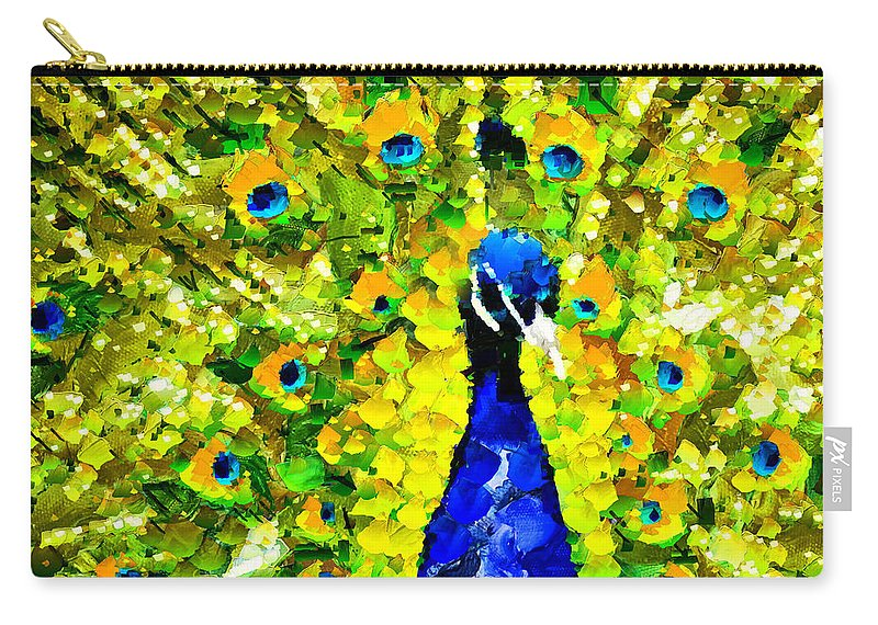 Abstract Carry-all Pouch featuring the mixed media Peacock Abstract Realism by Georgiana Romanovna