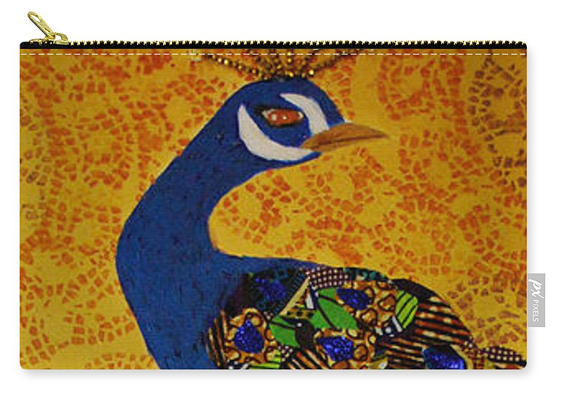 Peacock Carry-all Pouch featuring the tapestry - textile Peacock Blue by Apanaki Temitayo M