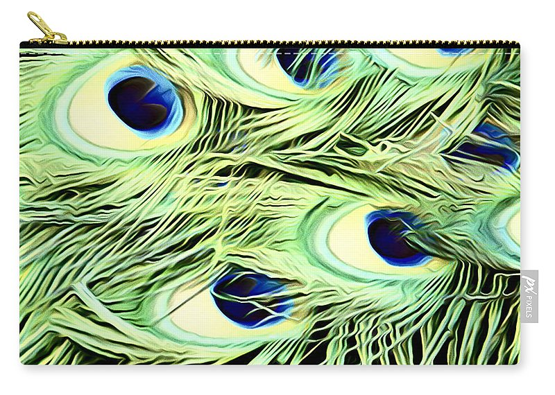 Peacock Feathers Carry-all Pouch featuring the photograph Peacock Colour by Alice Gipson