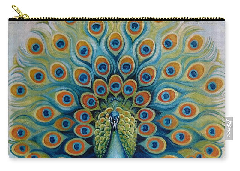 Peacock Carry-all Pouch featuring the painting Peacock by Elena Oleniuc
