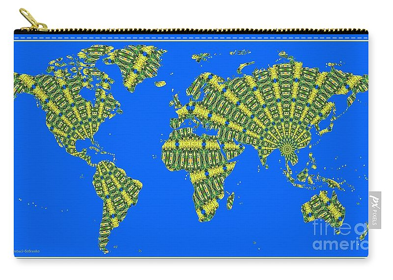 World Map Carry-all Pouch featuring the photograph Peacock Feather World Map by Rose Santuci-Sofranko