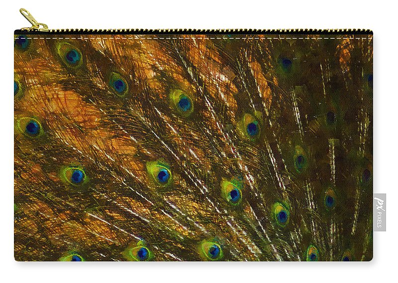 Peacock Carry-all Pouch featuring the digital art Peacock Feathers 2 by Ernie Echols