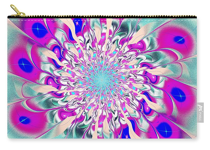 Flower Carry-all Pouch featuring the digital art Peacock Flower by Anastasiya Malakhova