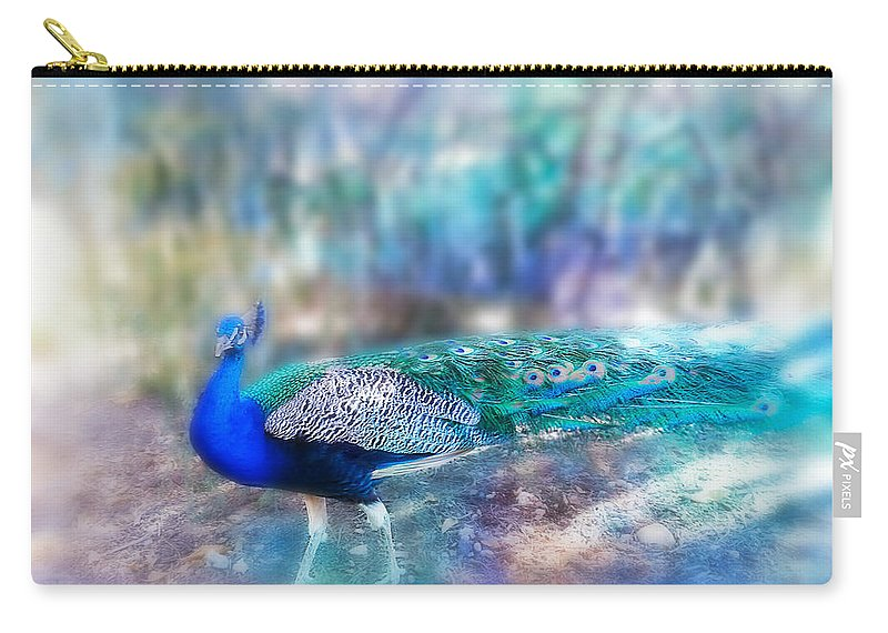 Peacock Carry-all Pouch featuring the photograph Peacock In The Mist by Diana Haronis