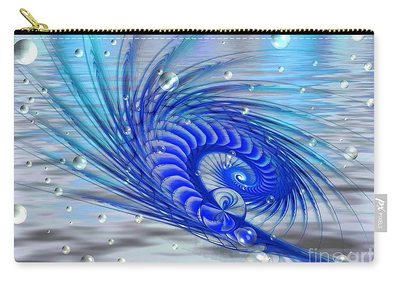 Fractal Carry-all Pouch featuring the digital art Peacock by Peggy Hughes