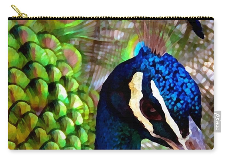 Large Carry-all Pouch featuring the photograph Peacock Pride Revisited by Angelina Tamez