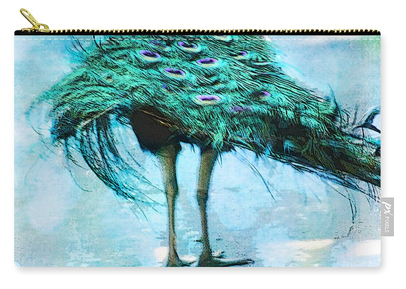 Arboretum Carry-all Pouch featuring the photograph Peacock Walking Away by Diana Haronis