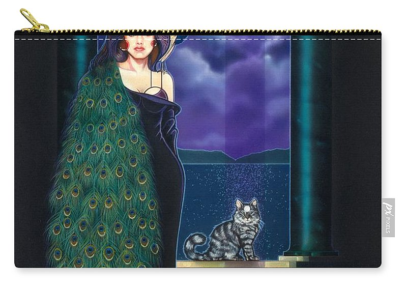 Peacock Carry-all Pouch featuring the painting Peacock Woman by Timothy Scoggins