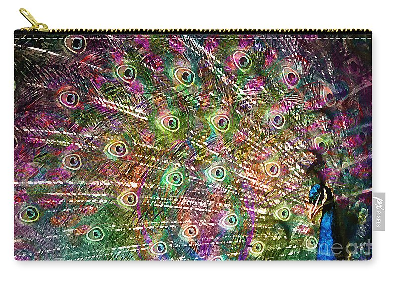 Peacock Carry-all Pouch featuring the painting Peacocked by Neil Finnemore