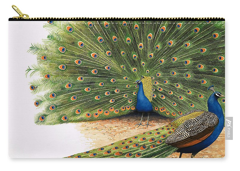 Peacock Carry-all Pouch featuring the painting Peacocks by RB Davis