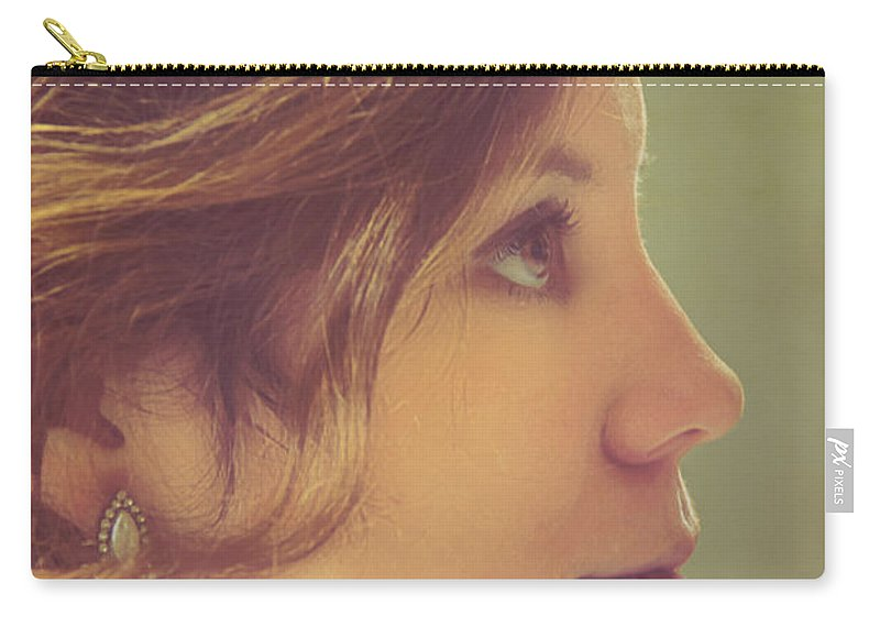 Caucasian; Beautiful; Beauty; Gorgeous; Elegant; Shiny; Pearls; Formal; Woman; Lady; Female; Portrait; Profile; Adult; Attractive; Earring; Elegance; Up Do; Hair; Brunette; Highlights; Green; Feminine; Prim; Proper Carry-all Pouch featuring the photograph Pearl Earring by Margie Hurwich