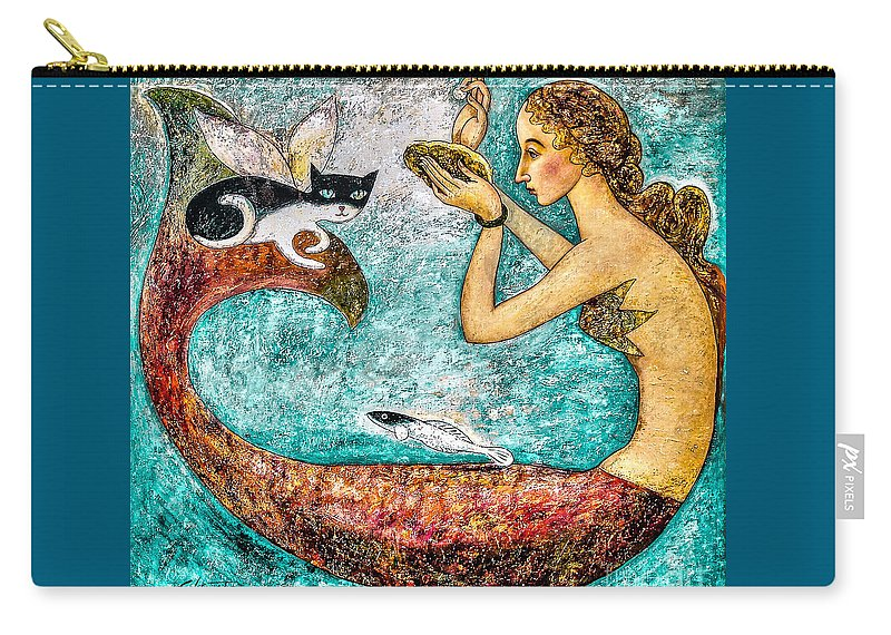 Mermaid Art Carry-all Pouch featuring the painting Pearl by Shijun Munns