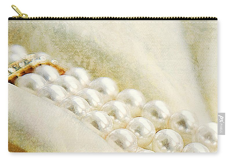Pearls Carry-all Pouch featuring the photograph Pearls On White Velvet by Theresa Tahara
