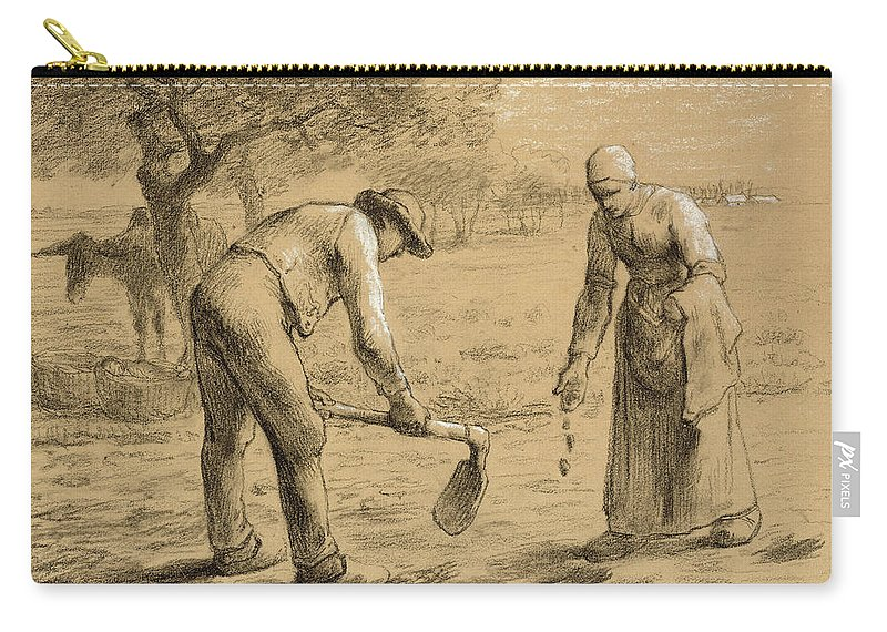 Potato; Worker; Labourer; Labourers; Workers; Peasant; Male; Female; Couple; Digging; Farming; Field; Apron; Hoe; Clogs; Social Realist; Donkey; Landscape; Agriculture; Daily Life Scene; Rural; Drawing Carry-all Pouch featuring the drawing Peasants Planting Potatoes by Jean-Francois Millet
