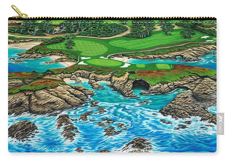 Ocean Carry-all Pouch featuring the painting Pebble Beach 15th Hole-north by Jane Girardot