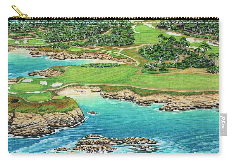 Ocean Carry-all Pouch featuring the painting Pebble Beach 15th Hole-south by Jane Girardot